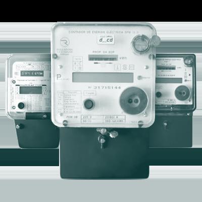 Imagem de contadores híbridos das marcas Reguladora, Shlumberger e Actaris